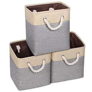 Syeeiex Cube Storage Bins 10.5'' x 10.5'' x 11'' Durable Fabric Storage Cubes Foldable Storage Basket with Cotton Rope Handles for Cube organizer Closet Beige & Grey Set of 3
