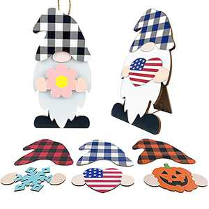 AliveCotruck Gnome Decor Wooden Wall & Door Hanger with 8pcs Interchangeable Seasonal Icons for Tabletop with Home Sign for Spring 4th of July Halloween Christmas Decorations