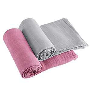 2 Pack Baby Swaddle Blanket, Soft Solid Baby Muslin Blankets,70% Bamboo and 30% Cotton Infant Receiving Blanket Wrap for Boys Girls Newborn Toddler,Large 47 x 47 inches Baby Swaddling Set