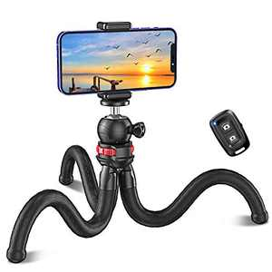 Bcway Phone Tripod, Flexible Selfie Stick Camera Tripod with Bluetooth Remote Control, Portable Mini Tripod for Filming/Vlogging/Live Streaming, Compatible with iPhone/Android Phones, Camera, GoPro