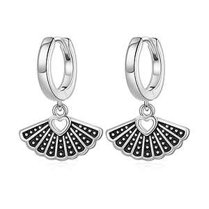 S925 Sterling Silver Earrings for Women, RBG Dissent Collar Earrings Huggie Hoop Earrings Dainty RBG Earrings RBG Jewelry Gifts for Women Fans Of Ruth Bader Ginsburg Sliver