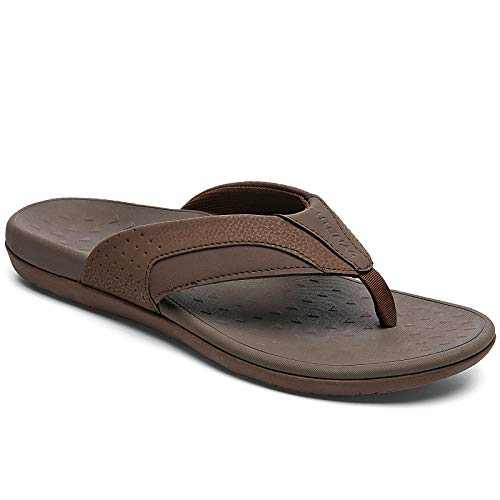 UTENAG Mens Arch Support Flip Flops Orthotic Thong Sandals Dark Brown
