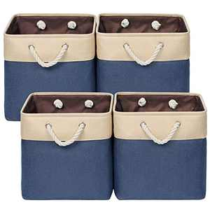 """Univivi Collapsible Baskets with Handles Set of 4,Large Fabric Storage Basket for Shelves,Bedroom,Closets and Nurseries,Organizer for Toys, Clothes,Book (Blue,13"""" x 13"""" x 13"""")"""