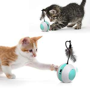 Outamateur Interactive Cat Toys Ball,Automatic Moving Cat Toys with Flashing Colorful LED USB Charging for for Kitten Puppy Small Dogs