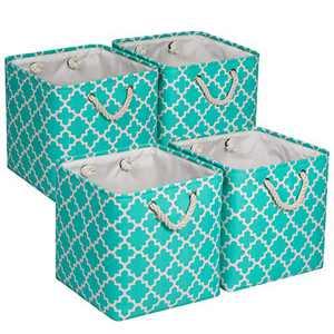 "Univivi Foldable Fabric Storage Bins [Set of 4] Large Foldable Canvas Fabric with Handles Fabric Storage Baskets for Organizing Shelf Nursery Home Closet (Green - 13"" x 13"" x 13"")"