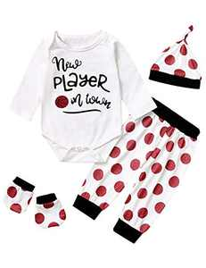 Baby Boys New Player in Town Outfits Newborn Funny Sport Romper (White02, 3-6 Months)