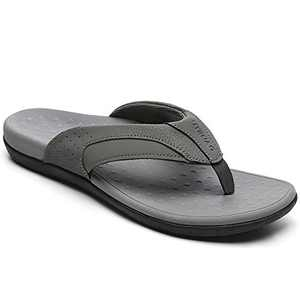UTENAG Mens Arch Support Flip Flops Orthotic Thong Sandals Grey