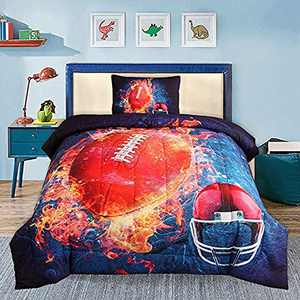 YEARNING Rugby American Football Helme Comforter Set(Twin Size 2-Piece),Includes Reversible Quilt Sets Super Soft Fade Resistant Microfiber Kids Bedding