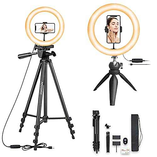 """10.2"""" Selfie Ring Light with 2 Phone Tripod Stands, led Ring Light with Tripod Stand, Selfie Ring Light for Phone Holder, iPhone Tripod with Remote, Selfie Light Ring for iPhone and Android"""