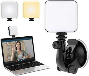 Laptop Light for Video Conferencing with Rechargeable Battery and Variable Color Temperature for Remote Working,Self Broadcasting,YouTube Livestreaming,with Suction Cup and Adjustable Tripod.