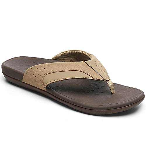 UTENAG Mens Arch Support Flip Flops Orthotic Thong Sandals Light Brown