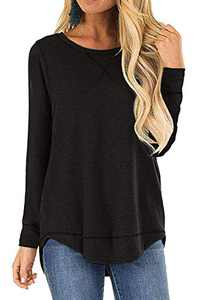Cotton Shirts for Women Long Sleeve Sweatshirt Blouse Casual Tunic Loose Fitting Top Black