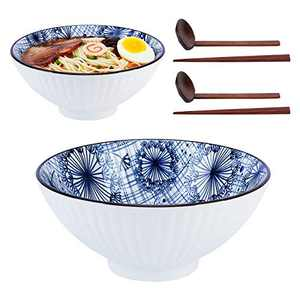 NJCharms Japanese Ceramic Ramen Noodle Bowls, 2 Sets (6 Piece) 46 oz Premium Deep Pho Bowl with Matching Spoon and Chopsticks for Soup, Cereal, Rice, Udon, Asian Noodles