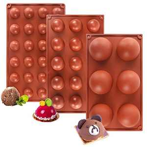 Silicone Molds, Large Semi Sphere Silicone Chocolate mould, for Making Hot Chocolate Bomb Cake Jelly Pudding Non Stick Round Shape Mold 6Holes, 15 Holes, 24 Holes (3 Pack, Red)