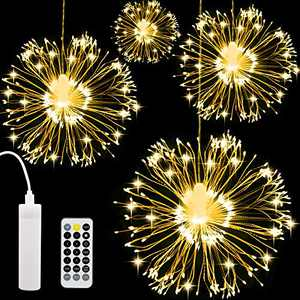 AXUAN 4 Pack LED Firework Light, USB Rechargeable Battery Operated Hanging Waterproof String Light, 8 Modes Starburst Fairy Light Remote Control, Decorative for Party Wedding Christmas