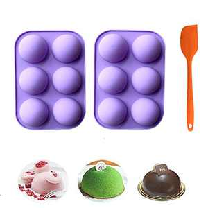2 Pack Sphere Silicone Molds for Baking Hot Chocolate Bomb Molds Cake DIY Mothers Day Gifts with Spatula Set (6 small holes)