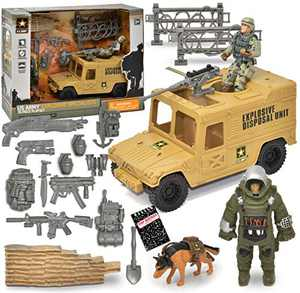 US Army Men Action Figure Playset, Explosive Specialists 15 Piece Set, Military Vehicle, 2 Soldier Men, Weapons, Military and Tactical Backpacks, Sandbag and Roadblock Barriers, Top Secret Notepad