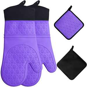 [Upgraded] Silicone Oven Mitts & Pot Holders Set 650 F Heat Resistant, Extra Long Oven Gloves Flexible for Kitchen Cooking Baking Grilling Microwave with Quilted Liner BPA Free Non-Slip