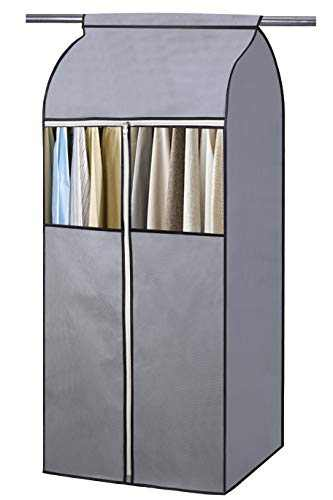 """KEETDY 54"""" Well-Sealed Garment Bag Organizer Storage Hanging Closet Cover with Clear Window Garment Rack Cover for Suits Dresses Coats Jackets Frameless, Grey"""