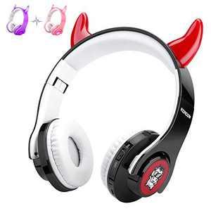 Kids Headphones with Microphone, AZACOW Toddler Headphones Bluetooth Wireless, Foldable Kids Headphones Boys Black, Cow Headphones Over Ear LED, TWS Function