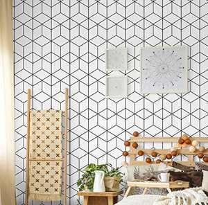 "Geometric Wallpaper Modern Stripe Contact Paper Removable Peel and Stick Wallpaper Hexagon Self-Adhesive Wall Paper Decoration Bedroom DIY Furniture Renovation Waterproof Vinyl Decorative 17.7""x118"""
