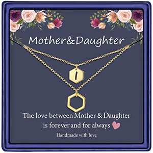 Mother Daughter Necklace, 14K Gold Plated Layered Initial Necklace Gifts for Mom and Daughter Hexagon Initial I Necklace Mother Daughter Gifts Mothers Day Christmas Birthday Gifts for Women Girls