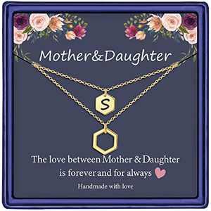 Mother Daughter Necklace for Women, 14K Gold Plated Layered Initial Necklace Gifts for Mother Daughter S Initial Necklace Mother Daughter Gifts for Mother's Day Thanksgiving Christmas Birthday