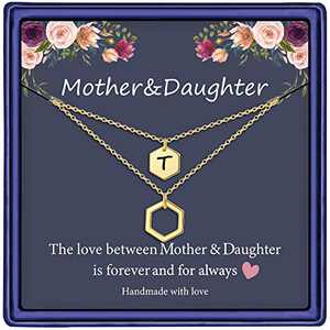 Mother Daughter Necklace, 14K Gold Plated Layered Initial Necklace Gifts for Mom and Daughter Hexagon Initial T Necklace Mother Daughter Gifts Mothers Day Christmas Birthday Gifts for Women Girls