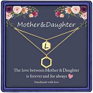 Mother Daughter Gifts, 14K Gold Plated Layered Hexagon Necklace Mom Gifts from Daughters Initial L Necklace Mother Daughter Necklace Gifts for Mom from Daughter