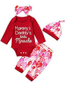 Mutiggee Baby Girls Father's Day Bodysuit Mommy&Daddy's Little Miracle Outfit with Headband and Hat (Red01,0-3 Months)