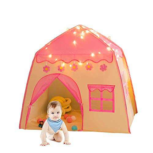 Rettebovon Princess Tent for Girls Girls Play Tent with Star Lights Kids Tents and Playhouses Kids Playhouse Girls Toys Indoor and Outdoor Princess Castle Play Tent for Kids Girls Gift