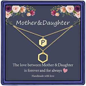 Mother Daughter Necklace from Daughter, 14K Gold Plated Hexagon Initial Necklace Mom and Daughter Gifts Initial P Necklace Mother Daughter Necklace Gifts