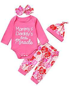 Mutiggee Baby Girls Father's Day Bodysuit Mommy&Daddy's Little Miracle Outfit with Headband and Hat (Pink02,6-12 Months)
