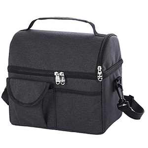Insulated Dual Compartment Lunch Bag for Kids/Women/Men, Reusable Lunch Box with Adjustable Shoulder Strap, for Work, School(Black)