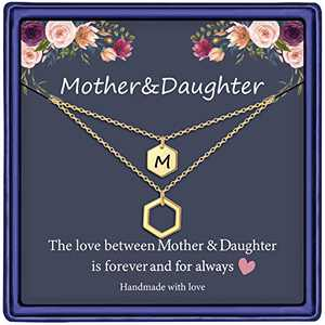 Mom Necklaces for Women, Gold Plated Hexagon Necklace Gifts for Mom and Daughter Initial M Necklace Mother Daughter Necklace Mother's Day Birthday for Women Girls