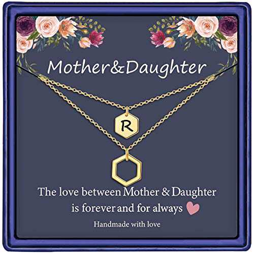Mother Daughter Necklace, 14K Gold Plated Layered Initial Necklace Gifts for Mom and Daughter Hexagon Initial R Necklace Mother Daughter Gifts Mothers Day Christmas Birthday Gifts for Women Girls