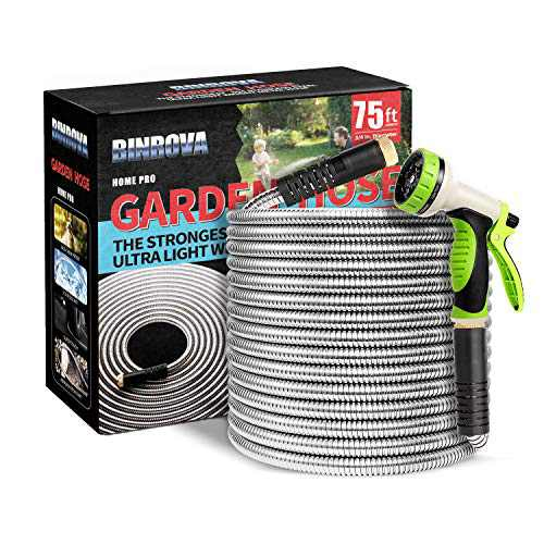 "BINROVA Garden Hose 75ft-304 Stainless Steel Metal Water Hose with 10 Way Spray Nozzle-Durable 3/4"" Solid Brass Fitting-Flexible Heavy Duty Lightweight No Kink Rust Proof Outdoor Yard Hose Pipe"