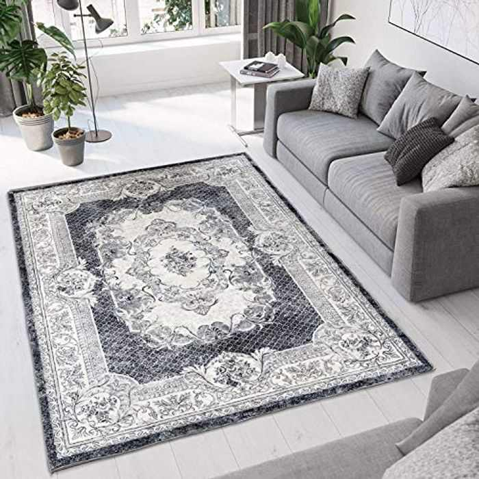 Tinyboy-hbq Area Rug Artistic Traditional Unique Rugs Living Room Bohemian Chic Vintage Distressed Oriental Vintage Carpets Bedroom Rugs (Grey white, 160 x 200 cm)