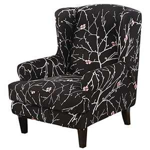 TOPCHANCES Wingback Chair Slipcover ,2 Piece Spandex High Stretch Slipcovers with Cushion Cover for Wingback Chairs ,Wingback Chair Covers for Living Room (Black Floral)
