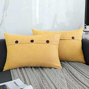 QOPOYU Set of 2 Farmhouse Linen Throw Pillow Covers Decorative Pillows of Triple Button Vintage Pillowcase for Couch Sofa Bed and Chair(Yellow 12 x 20 Inch)