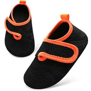 L-RUN Baby Girls Slippers Indoor House Slippers Soft Black 6-7 Toddler=EU24-25