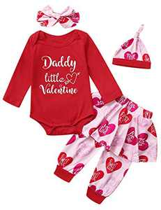 Mutiggee Baby Girls Father's Day Outfits 1st Fathers Day Bodysutit with Headband (Red, 3-6 Months)