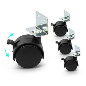 Linhoo Casters Wheels Set of 4, Heavy Duty Swivel Plate Caster Wheels with Screw Set for Furniture