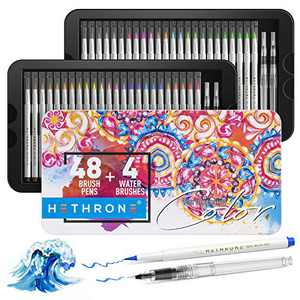 Hethrone Watercolor Brush Pens, 48 Colors with 4 Blending Water Brush pens, Flexible Brush Tips for Coloring Books Calligraphy Drawing, for Artists and Beginner Painters