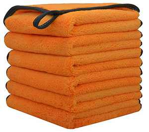 BloomSesame Microfiber Face Cloths Reusable Makeup Remover Cloth Soft Facial Cleaning Washcloths 12 x 12inch 6 Pack Orange