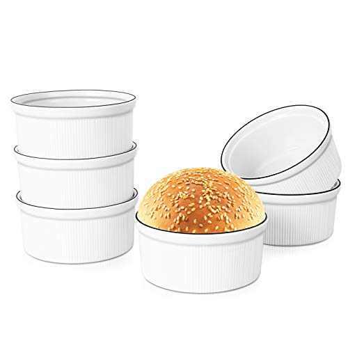 AnBnCn 8 oz Ramiken Bowls for Creme Brulee Dish,Fashionable Style Ramekins Bowls,Souffle Ramekin,Set of 6, Porcelain Ramekins Oven Safe-White
