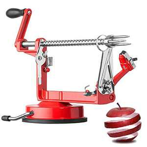 Apple Peelers, Oakaylif Apple Peeler Slicer Corer 3 in 1 Hand-Cranking Peeler with Suction Base - Red