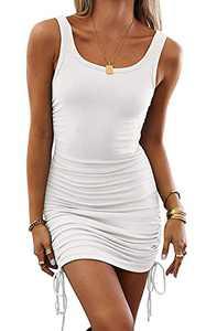 YUOIOYU Women Ruched Bodycon Mini Dress Sleeveless Drawstring Party Club Tank Dress White