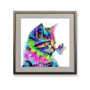 Offito Diamond Painting Kits for Adults Kids, Round Crystal Diamond Art Kits, DIY 5D Diamond Painting by Numbers for Gift Home Wall Decor Butterfly and Cat (12x12 inch Frame NOT Included)