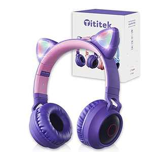Tititek Purple Cat Ear Headphones Gaming Headset, Cute Cat Ear Headphones, Wireless Earbuds Over Ear LED Stereo Headphone, FM Radio TF Card MP3 Point Bluetooth Headset with Microphone (Purple)